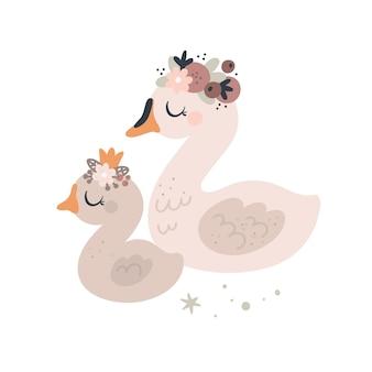 Pássaros de cisnes fofos, mamães e bebês animais com guirlanda floral