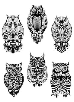 Pássaros de coruja isolados em estilo tribal para conceito de mascote, tatuagem ou vida selvagem