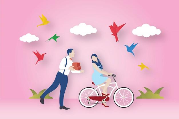 Pássaros de origami e tema de amor
