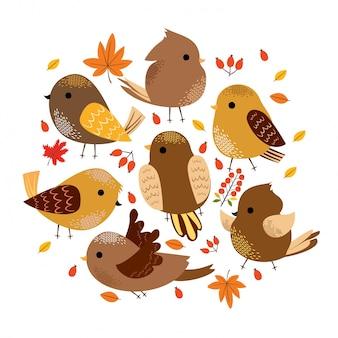 Pássaros de outono fofos