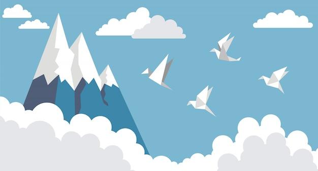 Pássaros de papel de origami, montanha e nuvem no céu azul, estilo simples