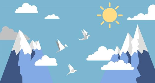 Pássaros de papel de origami, montanha, sol e nuvem no céu azul, estilo simples