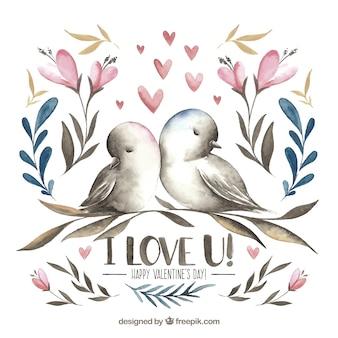 Pássaros de valentine desenhados a mão