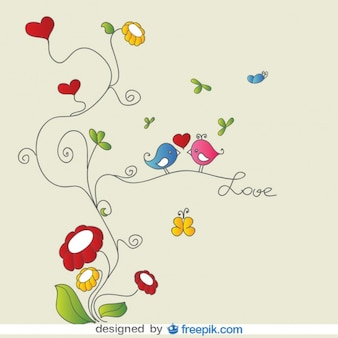 Pássaros do amor no cartão floral ornamentos vector