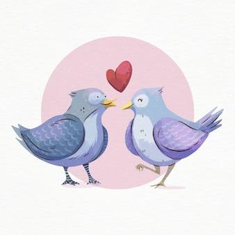 Pássaros do dia dos namorados em aquarela apaixonados