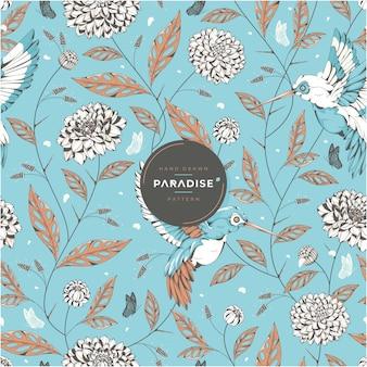 Pássaros do paraíso desenhados à mão e padrão floral