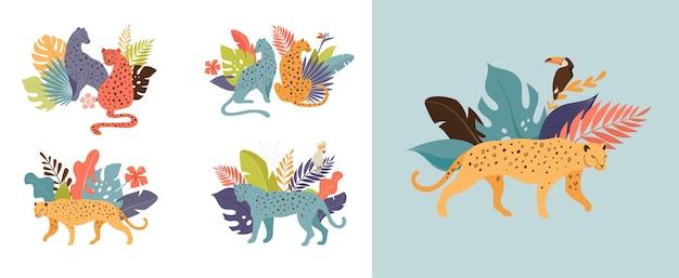 Pássaros e animais exóticos tropicais - ilustração de leopardos, tigres, papagaios e tucanos. animais selvagens na selva, floresta tropical