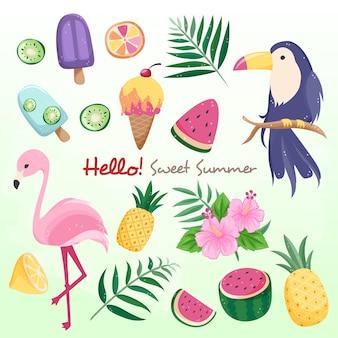 Pássaros e frutas doces do verão