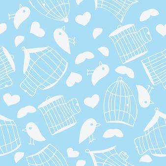 Pássaros e gaiolas de pássaros. padrão uniforme - ilustração vetorial