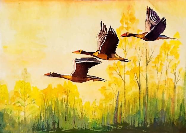 Pássaros em aquarela voando no céu.