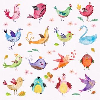 Pássaros em aquarela