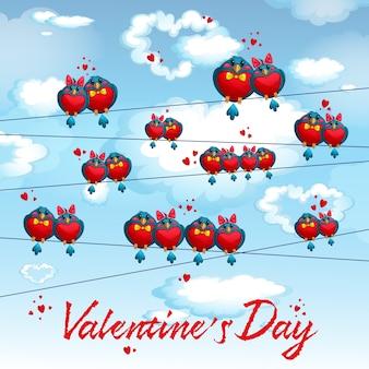 Pássaros engraçados nos fios. cartão postal para o dia dos namorados.