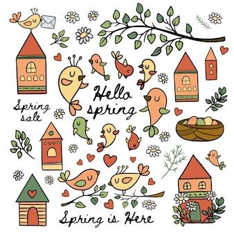 Pássaros na primavera fazem seus ninhos florescerem ramo natureza com folhas desenho animado casas feliz