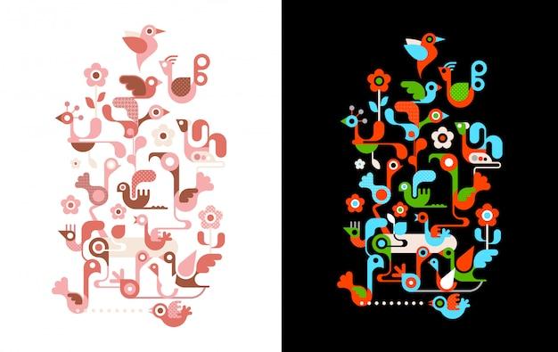 Pássaros nas ilustrações vetoriais de árvore