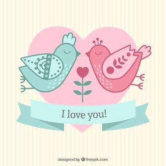 Pássaros no amor, cartão