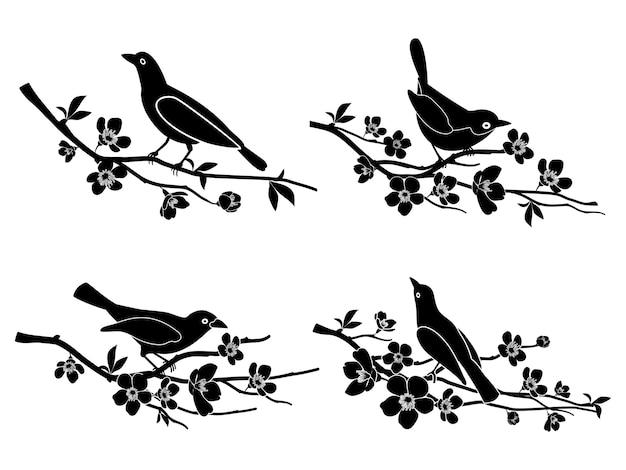 Pássaros nos galhos. natureza e animal, silhueta e flor e ilustração vetorial de vida selvagem