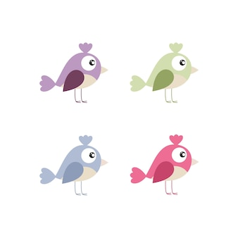 Pássaros pequenos em um fundo branco. ilustração em vetor de desenhos animados infantis. desenho para livros infantis, têxteis, padrões, papel de embalagem. design de logotipo de produtos para recém-nascidos