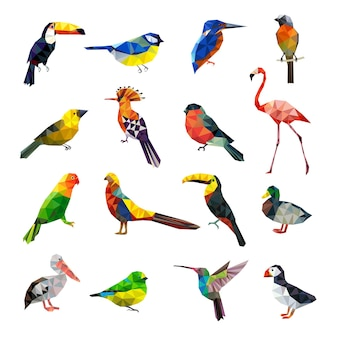 Pássaros poligonais. conjunto de animais estilizados geométricos conjunto low poly de pássaros coloridos voando. origami de polígono geométrico, ilustração colorida de animal