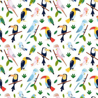 Pássaros tropicais - design de padrão uniforme