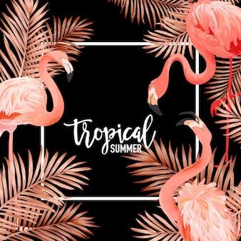 Pássaros tropicais flamingo e folha de palmeira dourada banner de verão, plano de fundo gráfico, convite floral exótico, folheto ou cartão. primeira página moderna em vetor