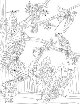 Pássaros tropicais rabiscam na mão das árvores desenhando pelicano flamingo na linha da vida selvagem da ilustração da árvore