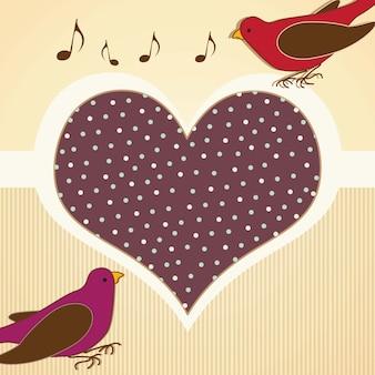 Pássaros vintage com ilustração vetorial de coração gigante