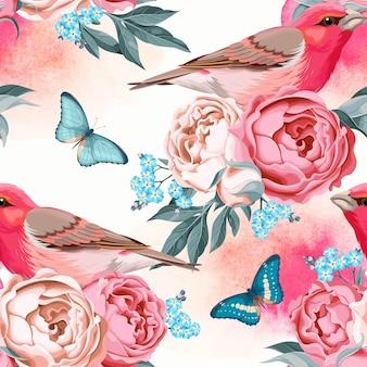 Pássaros vintage e flores sem costura de fundo com aquarela