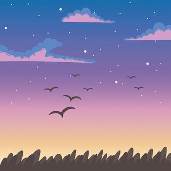 Pássaros voando ao pôr do sol