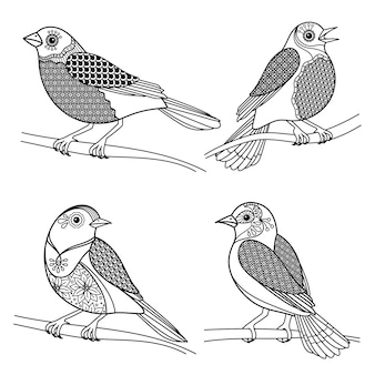 Pássaros zentangle