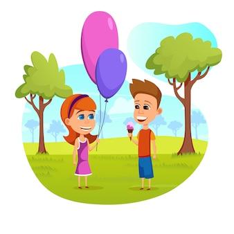 Passatempo de crianças engraçadas bonitos nas férias de verão