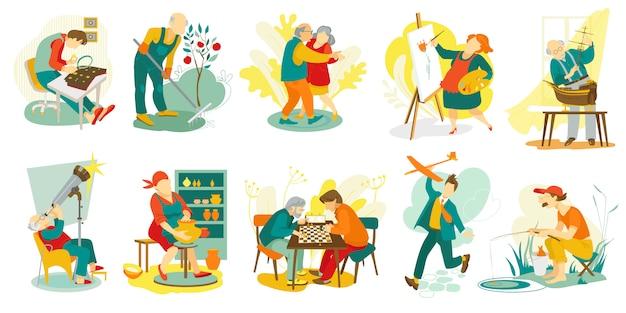 Passatempo de pessoas, personagens criativos artísticos de homem e mulher fazendo coisas favoritas, conjunto de ilustração. arte, música, xadrez, dança, lazer e recreação para idosos. desenho, escultura de passatempo.