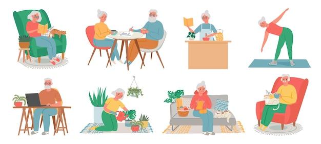 Passatempo doméstico de idosos. homens, mulheres e casais idosos trabalham no computador, lêem, fazem exercícios, cozinham, cuidam das plantas e fazem malha. conjunto de vetores de idosos em casa. ilustração da avó idosa e aposentada sênior