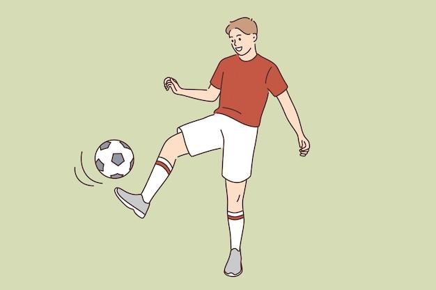 Passatempo esportivo e conceito de estilo de vida ativo. jovem sorridente menino menino personagem de desenho animado chutando bola jogando futebol em ilustração vetorial de roupas esportivas