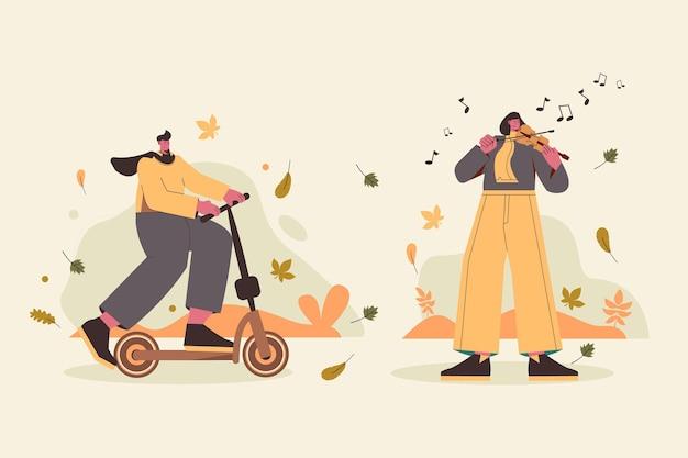 Passatempos de outono de design plano