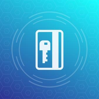 Passe eletrônico, ícone de chave de cartão de plástico