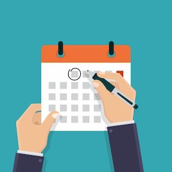 Passe segurar, um, calendário, e, caneta