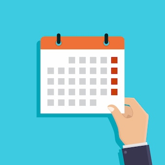 Passe segurar, um, calendário