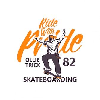 Passeio com ilustração de skate de orgulho