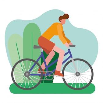 Passeio de bicicleta jovem praticando caráter de atividade