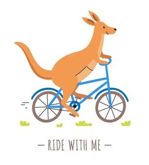 Passeio de canguru fofo de bicicleta