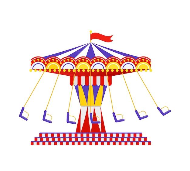 Passeio de carrossel de balanço. . carrossel vintage. tema do parque de diversões. ilustração dos desenhos animados.