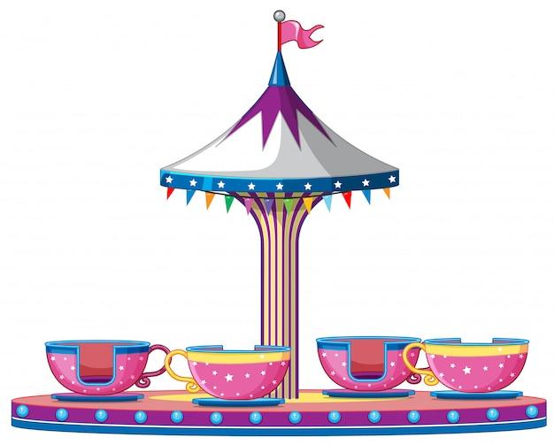 Passeio de circo com xícaras de rosa