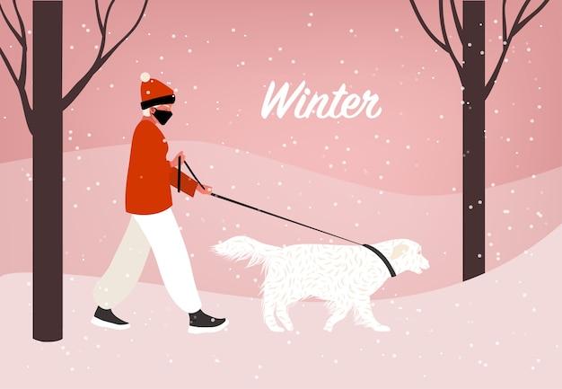 Passeio de inverno com cachorro. tempo de bloqueio. mulher sênior eu passeando com o cachorro no parque. neve e ilustração fria em estilo simples.