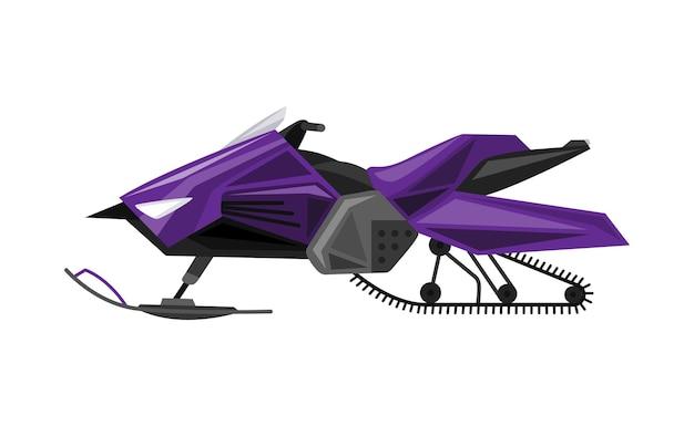 Passeio de inverno em moto de neve. trenó motorizado, veículo para viagens radicais na neve e no gelo, recreação de inverno. ilustração em vetor estilo simples dos desenhos animados isolada no fundo branco