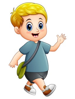 Passeio de menino bonito dos desenhos animados
