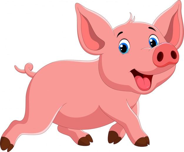 Passeio de porco bonito dos desenhos animados enquanto sorrindo