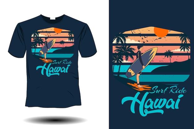 Passeio de surf no havaí com design retro vintage