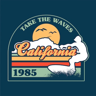 Passeio de surfista na grande onda no oceano lugar de paraíso na praia da califórnia.