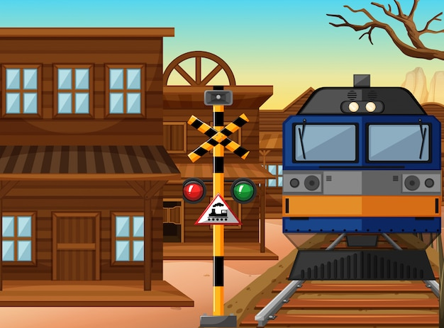 Passeio de trem pela cidade ocidental