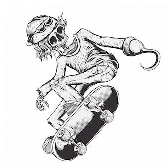 Passeio do menino do esqueleto skate